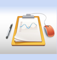 Clipboard with pen and computer mouse vector image