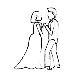 Couple wedding love sketch vector