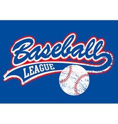 Distressed baseball script with a baseball vector image vector image