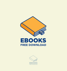 Ebook logo book store digital library vector