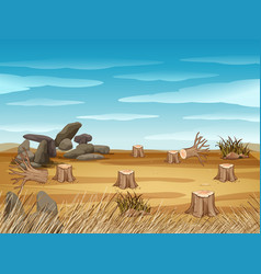field with stump trees vector image