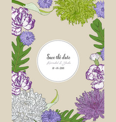 floral bouquet with hand drawn spring flowers vector image vector image