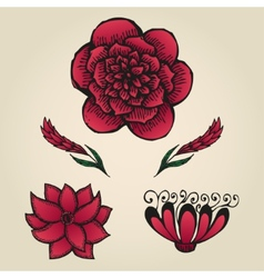 Floral doodling flowers set in tattoo style vector image vector image