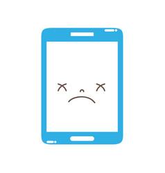 Full color kawaii smartphone cute gloomy face vector