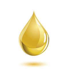 golden colored liquid drop icon with a shadow vector image vector image