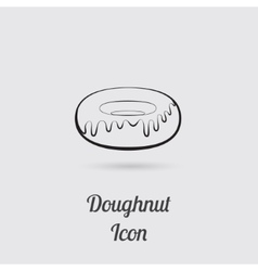 Greyscale icon of donut vector