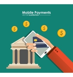 Hand holds smartphone mobile payment bank app vector