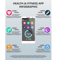 Health and fitness application infographic vector