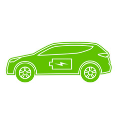 hybrid car green icon electric powered vector image