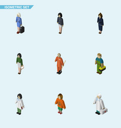 isometric human set of cleaner girl pedagogue vector image