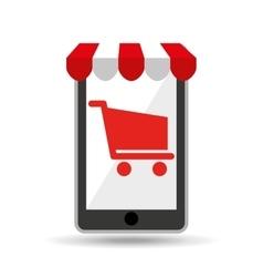 online shopping red cart buy design vector image