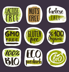 organic food hand drawn labels set vector image vector image