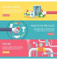 Plumbing Banner Set vector image vector image