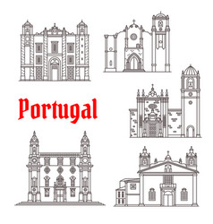 Portugal architecture landmarks buildings vector