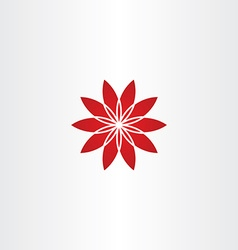 red flower star icon vector image vector image