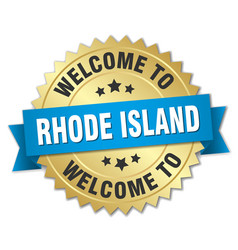 Rhode island 3d gold badge with blue ribbon vector