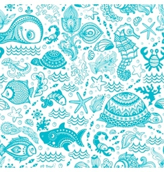 set of fish and shells vector image vector image