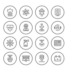 Set round line icons of house systems vector
