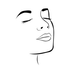 sketch female face silhouette with eyes closed vector image