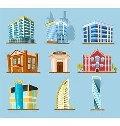 Various buildings construction icon vector