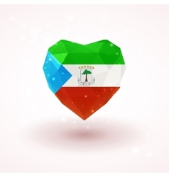 Flag of equatorial guinea in shape diamond glass vector