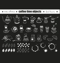 Coffee time objects vector