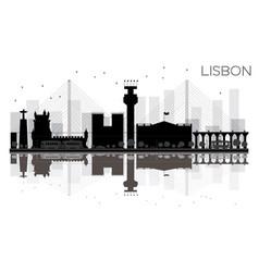lisbon city skyline black and white silhouette vector image