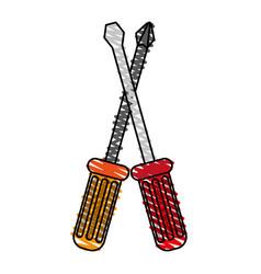 Color crayon stripe image cartoon set screwdriver vector