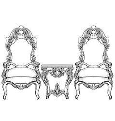 Imperial baroque chair and coffee table with vector