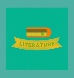 Flat shading style icon literature lesson vector