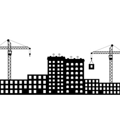 Silhouette the construction of city vector