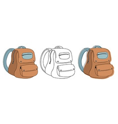 School bag in 3 styles vector