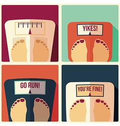 Collection of four bathroom weight scales vector