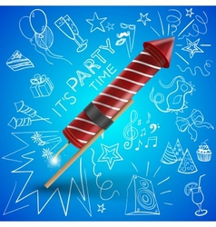 Fireworks with drawing party objects vector