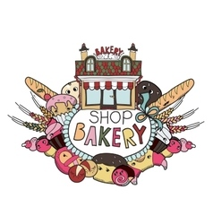 Bakery shop doodles vector