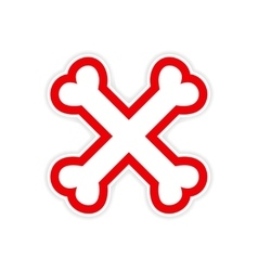 Sticker cross bones stacked on a white background vector