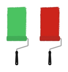 Green and red paint rollers vector