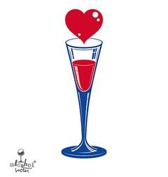 Champagne party goblet with red loving heart vector