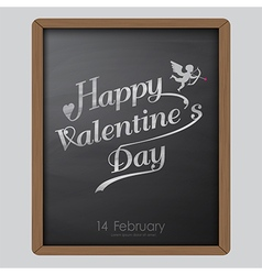 Happy valentine day typography drawing on chalkboa vector