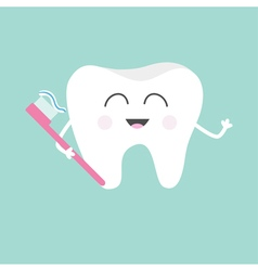 Tooth holding toothbrush with toothpaste cute vector