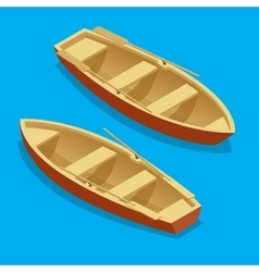 Rowing boat set wooden boat with paddles isolated vector