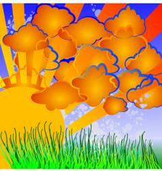Cartoon nature sun clouds grass vector
