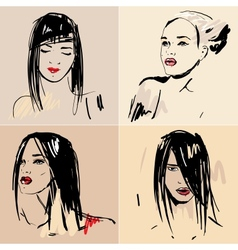Set of sketch beautiful girls vector