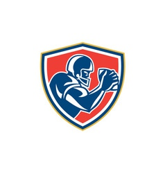 American Football Player Ball Side Shield vector image