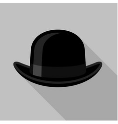 black bowler hat icon flat style vector image