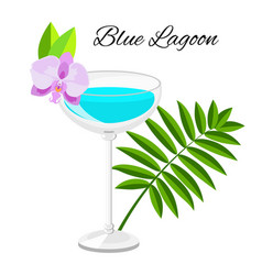 blue lagoon cocktail isolated on white vector image vector image
