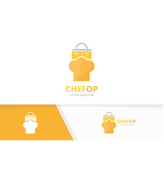 Chef hat and shop logo combination kitchen vector