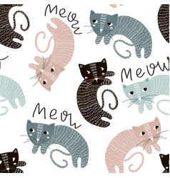 childish seamless pattern with cute artistic cats vector image