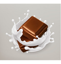 Chocolate and milk splash Chocolate and yogurt vector image
