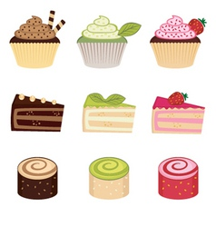 colorful desserts set vector image vector image